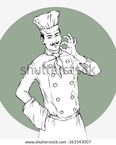 Realistic sketch of chef, cook, black and white vector illustration. Smiling cook show okay. Eps10 vector illustration. Isolated - stock vector