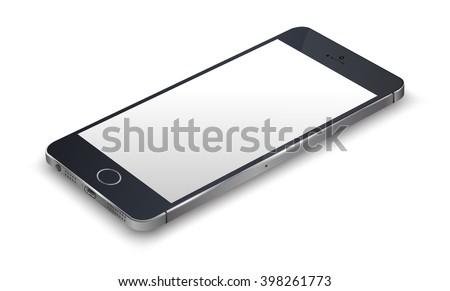 Realistic smartphone black color iphon style mockup. Vector illustration. for printing and web element, Game and application mockup. - stock vector