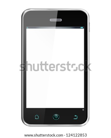 Realistic Smartphone -  cellphone in iphon style, vector layered and with a separate layer to easily add your own screen image - stock vector