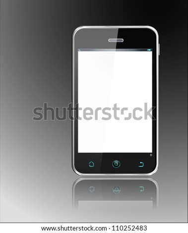Realistic Smartphone -  cellphone, vector layered and with a separate layer to easily add your own screen image - stock vector
