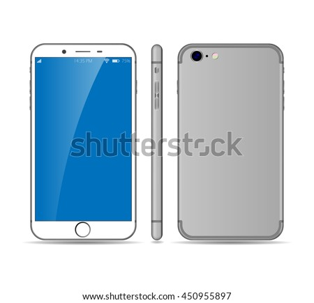 Realistic smartphone mockup with blank screen isolated on white background. Front, side and back view phone. Cellphone. Vector eps 10 smartphone illustration. Iphone style smartphone. - stock vector