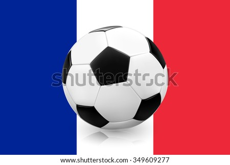Realistic soccer ball / football on French flag background. Vector illustration. - stock vector