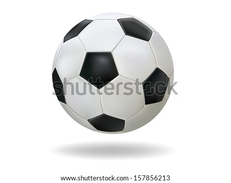Realistic soccer ball ( Football ) on white background - stock vector