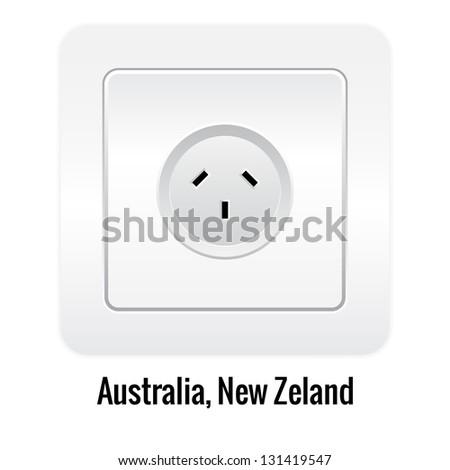 Realistic socket illustration isolated on white. Australia, New Zeland type. - stock vector