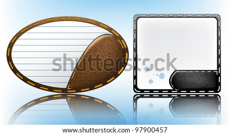 Realistic speech bubbles from leather and paper - stock vector
