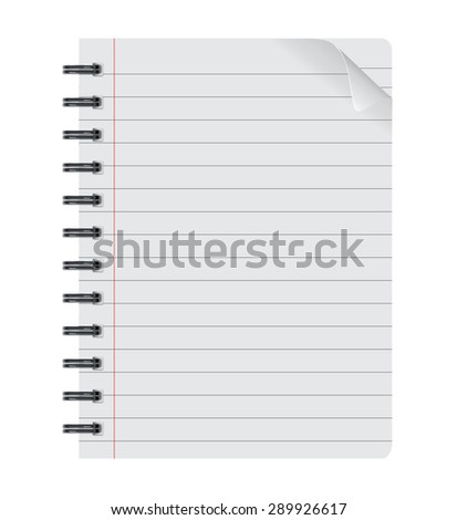 realistic spiral notepad notebook isolated on white vector, isolated paper sheet, Paper sheet - stock vector