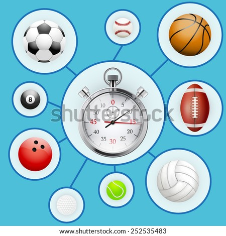 Realistic Sport balls and stopwatch with markers. Vector Infographic Illustration - stock vector