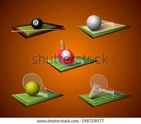 Realistic sport emblem icons set of table tennis billiards badminton volleyball isolated vector illustration - stock vector