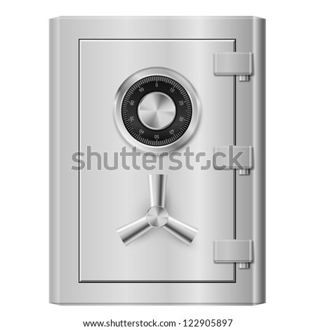Realistic Steel safe. Illustration on white background. - stock vector