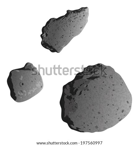 Realistic stone asteroids isolated on white background - asteroid Gaspra and ex asteroids, moons of Mars - Phobos and Deimos. Elements of this image furnished by NASA. Eps10 Vector - stock vector