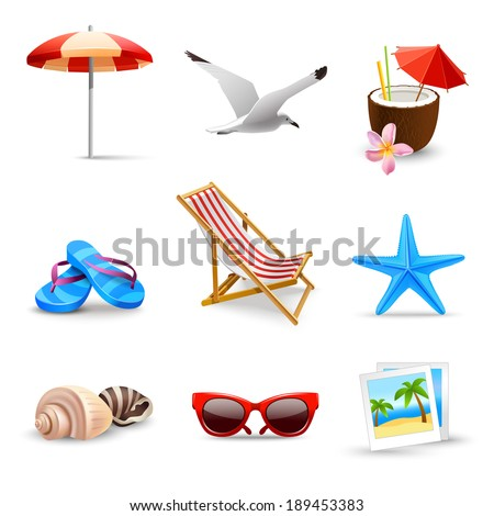 Realistic summer holidays seaside beach icons set isolated vector illustration - stock vector