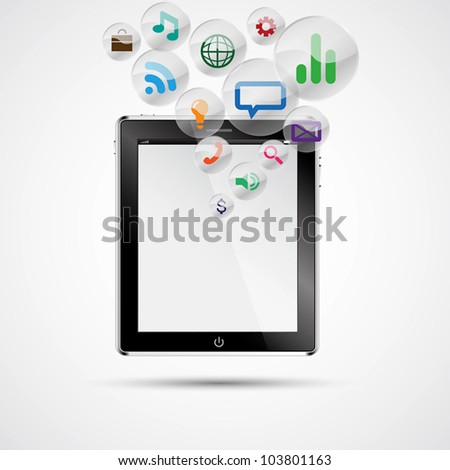 Realistic tablet pc computer with blank screen. Vector eps 10 - stock vector