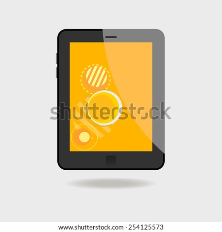 Realistic tablet pc computer with orange screen on white background - stock vector