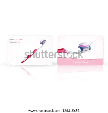 Realistic toothbrush printed on business card. Vector design - stock vector