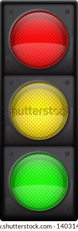 Realistic traffic lights, Isolated on white, EPS10 vector - stock vector