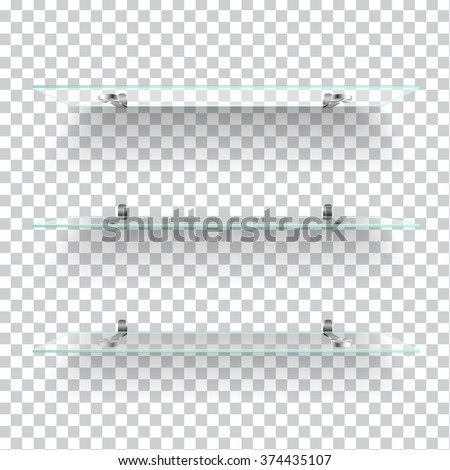Realistic transparent glass shelves on light grey background. Vector eps10 illustration - stock vector