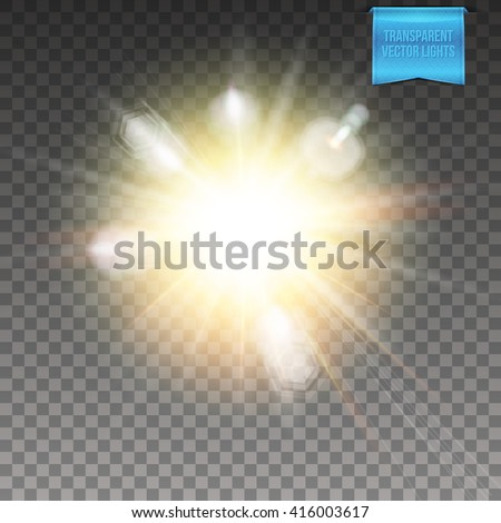 Realistic transparent vector explosive light effect with a fiery center, radiating rays and flare effect - stock vector