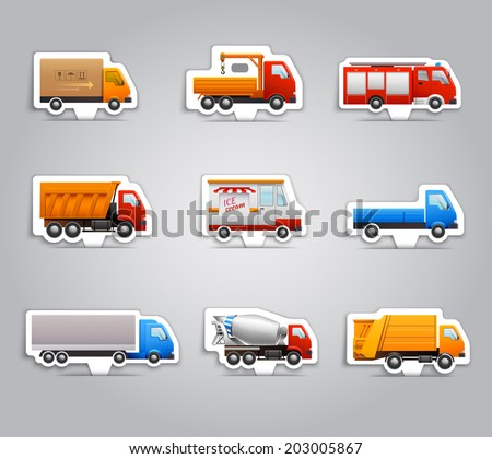 Realistic truck lorry transport van auto paper stickers set isolated vector illustration - stock vector