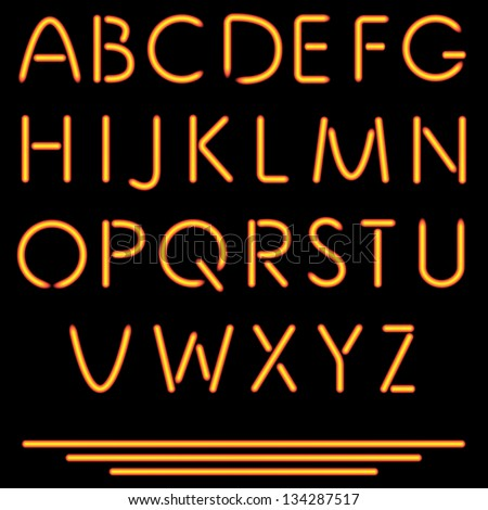 Realistic Tube Letters. Vector Illustration. Neon Alphabet. Isolated On Black Background. No Mesh Used. - stock vector