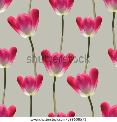 Realistic tulips vector seamless pattern, Repeating surface pattern with beautiful realistic 3D vector tulips for all web and print purposes. - stock vector