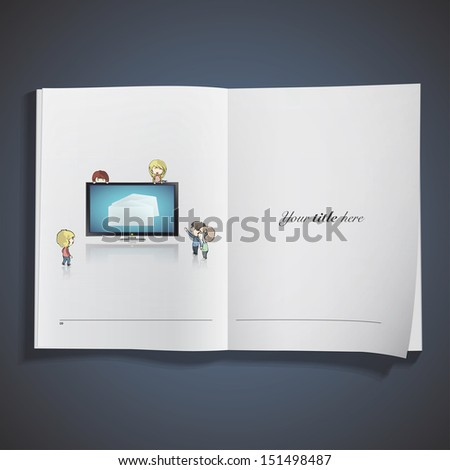 Realistic TV printed on book. Vector design - stock vector