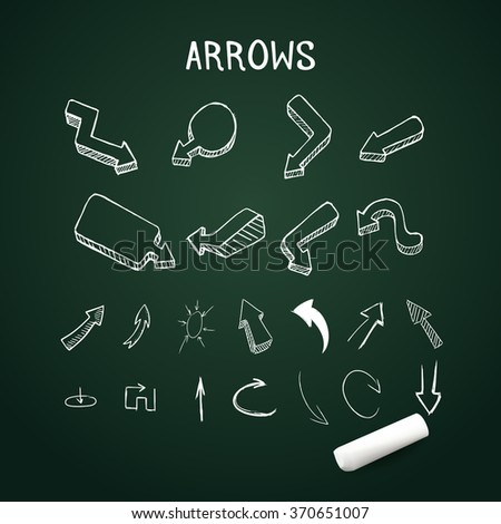 Realistic up and down arrows with chalk - stock vector