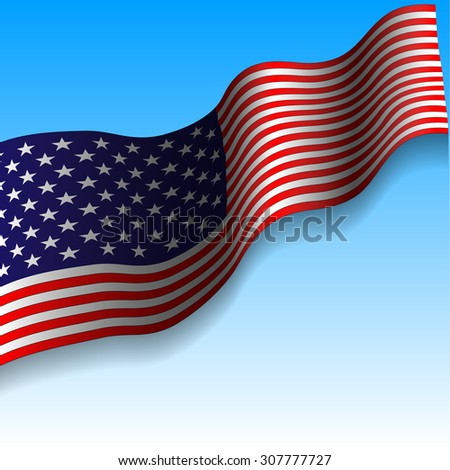 Realistic USA flag  isolated on gradient blue-white background, stock vector illustration. Patriot day, memory day, independence day 9 11 - stock vector
