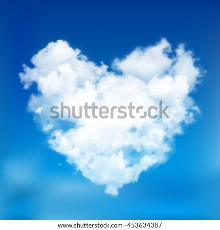 Realistic vector cloud heart. Blue sky background. - stock vector