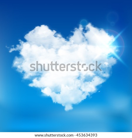 Realistic vector cloud heart with sun. Blue sky background.  - stock vector
