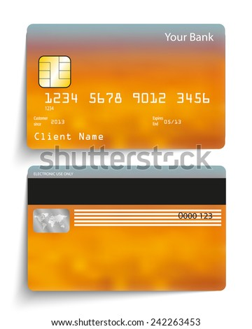 Realistic vector credit card. - stock vector