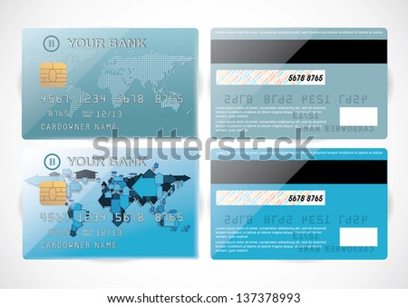 Realistic vector Credit Card two design two sides. - stock vector