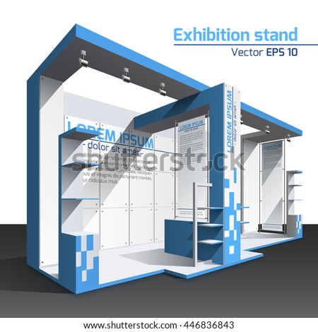 Realistic vector. Exhibition stand design blue template. Poster, banner - stock vector