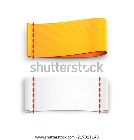realistic vector fabric labels with stitching isolated on white background - stock vector