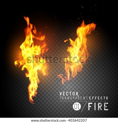 Realistic Vector Fire Flames. Transparent vector effects.  Flames with sparks. Vector illustration. - stock vector