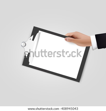 Realistic vector Hand holding clipboard on white. Blank design - stock vector