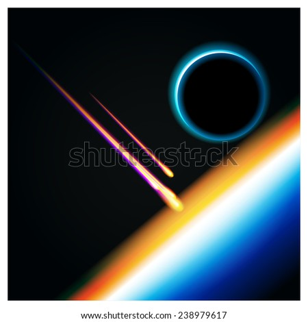 Realistic vector illustration of a planet's orbit with falling into the atmosphere by meteorites. can be used in your design, advertising, animation etc. - stock vector