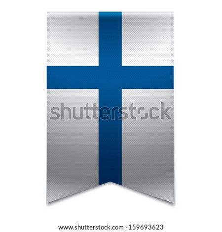 Realistic vector illustration of a ribbon banner with the finnish flag. Could be used for travel or tourism purpose to the country finland in europe. - stock vector
