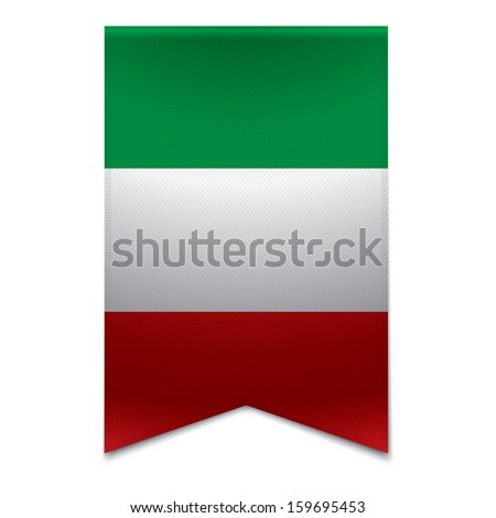 Realistic vector illustration of a ribbon banner with the italian flag. Could be used for travel or tourism purpose to the country italy in europe. - stock vector