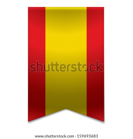 Realistic vector illustration of a ribbon banner with the spanish flag. Could be used for travel or tourism purpose to the country spain in europe. - stock vector