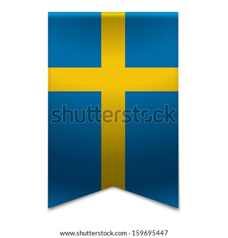 Realistic vector illustration of a ribbon banner with the swedish flag. Could be used for travel or tourism purpose to the country sweden in europe. - stock vector