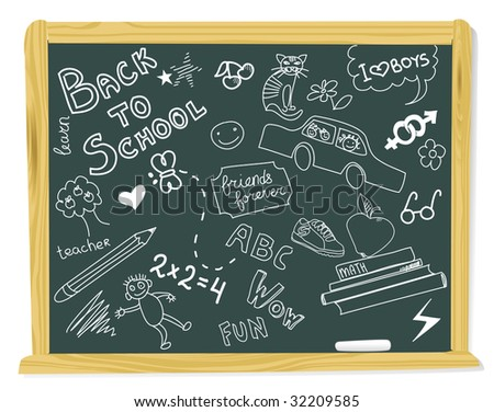 realistic vector-illustration of a vintage blackboard with scribbles - stock vector