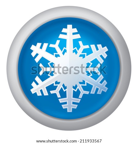Realistic vector illustration of blue snowflake button icon - stock vector