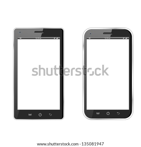 Realistic vector illustration of two different modern black smartphones. eps10 - stock vector
