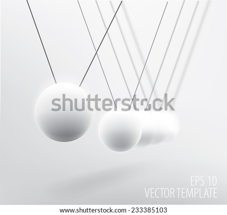 Realistic vector illustration of white pendulum with simulated transparent depth of field blur  - stock vector
