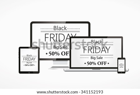 Realistic vector laptop, tablet computer, monitor and mobile with black friday - stock vector