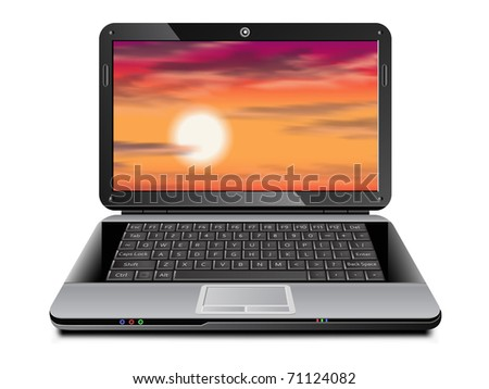 Realistic vector laptop with tropical sunset background on the screen - stock vector