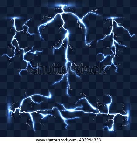 Realistic vector lightnings set on checkered background. Bright lightning, electric lightning, effect lightning energy illustration - stock vector