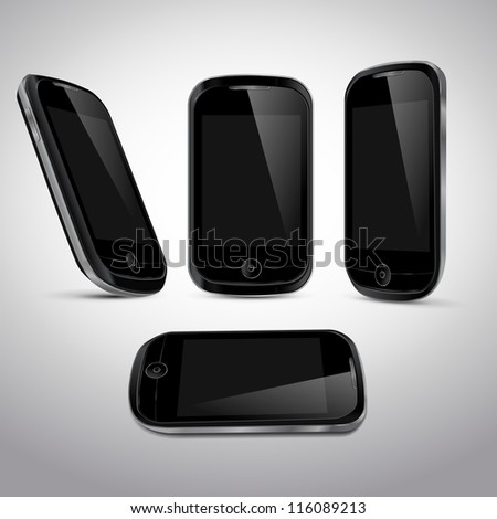 Realistic vector mobile phone in different positions template - stock vector