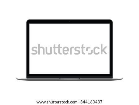 Realistic vector mock up of  laptop with blank screen isolated on white background - stock vector