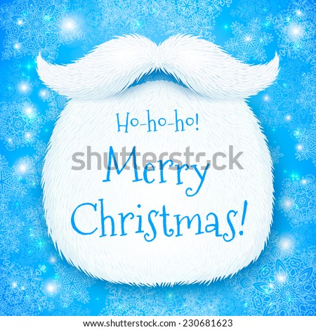 Realistic vector Santa's beard with Merry Christmas sign on blue snowy background - stock vector